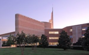 Baptist Health NLR campus exterior showing spire