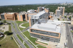 Aerial shot of UAMS campus
